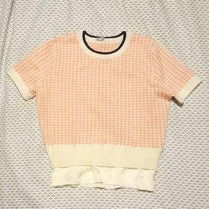 Miu Miu Pink Houndstooth Wool Crop Sweater